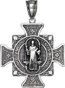 Sterling Silver Saint Benedict Cross Reversible Charm Pendant Necklace 3.3cm