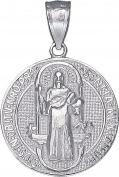Sterling Silver Saint Benedict Medal Reversible Charm Pendant Necklace 25mm