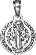 Sterling Silver Saint Benedict Medal Charm Small Pendant Necklace with Chain