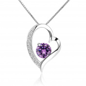 CoolJewelry Sterling Silver Forever Love Heart Pendant Necklace