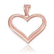 Polished 10k Rose Gold Love Charm Open Heart Pendant