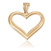 Polished 10k Yellow Gold Love Charm Open Heart Pendant