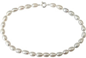 Large White Oval Shape Baroque Cultured Pearl Necklace With A Large Silver Clasp