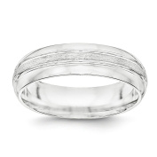 SS 6mm Brushed Fancy Band Size 7.5