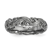 Sterling Silver Stackable Expressions Black-plated Carved Band