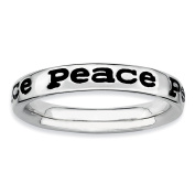 Sterling Silver Stackable Expressions Polished Enamelled Peace Ring