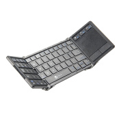 iClever Portable Foldable Bluetooth Keyboard with Touchpad, (Connect 3 Devices Simultaneously), Ultra Slim Wireless Keyboard with Carry Pouch, Aluminium Alloy, Dark Grey