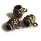 Heather's cf 78 Pieces Copper Tone Carved Tube Spacer Connector Findings 2 Holes Jewellery Making 10X8mm
