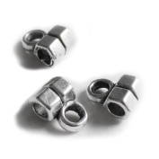 Heather's cf 330 Pieces Silver Tone Tube Spacer Connector Findings 2 Holes Jewellery Making 7X4mm