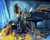 Arts Language Wooden Framed 41cm x 50cm Paint by Numbers Diy Painting -musician