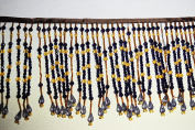 Altotux Fringe Trim 15cm Navy Blue Amber Yellow Acrylic Beads 1cm Brown Ribbon