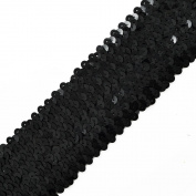 5.1cm Stretch Sequin Trim by, 5-yards, Black, LT-1002