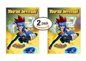 2pk Beyblade Invitations w/ Envelopes, 16ct
