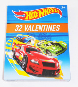 Hot Wheels 32 Valentine Cards for Classroom Sharing with 8 Car Designs