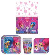 Shimmer and Shine Birthday Party Supplies Bundle Kit Including Plates, Cups, Napkins and Table cover - 8 Guests
