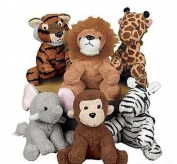 Zoo Safari Jungle Plush Stuffed Animals ZEBRA MONKEY ELEPHANT TIGER LION GIRAFFE