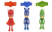 Hot NEW Best Seller PJ Masks 7.6cm Light up Disney Junior Bracelet Action Figure Set - One (1) each of Gekko, Catboy, and Owlette