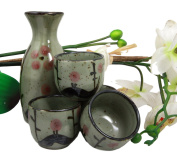 Atlantic Collectibles Japanese 150ml Ceramic Matcha Cherry Blossom Sake Set Flask With Four Cups