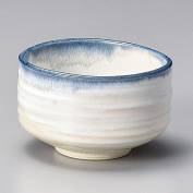 Yamakiikai Minou Pottery Japanese Tea Bowl White & Blue Made by カネタ (Kaneta) F1725 from Japan