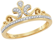 10K Gold Crown Ring for Her 1/10ctw Natural Diamonds Ladies Fashion Ring