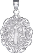 Sterling Silver Saint Benedict Medal Reversible Charm Pendant Necklace with Chain