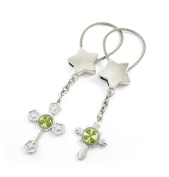 Genuine Four-leaf Lucky Clover Crystal Amber Engravable Key Chain, Cross Themed Valentines Keychains, Crosses 4 Protection!