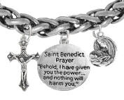 Saint Benedict Charm-Prayer-Crucifix-Mary With Christ Child, Protect Me From Harm, From Evil, From The Devil. Nickle,Lead Free