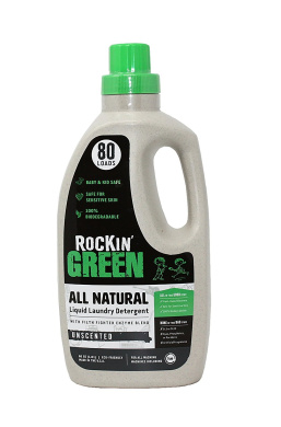 Rockin' Green Natural Liquid Laundry Detergent, Gentle Yet Powerful Laundry Soap, HE Rated - Up to 80 Loads Per Bottle, Unscented (1770ml)