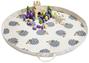 3 Sprouts Play Mat Bag, Hedgehog, Grey
