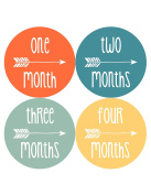 NEW Baby Month Stickers Baby Tribal Arrows Months 1-12 Monthly Age Sticker Boys 1064