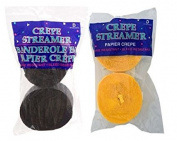 Black and Yellow Gold Crepe Paper Streamers (2 Rolls Each Colour) MADE IN USA!