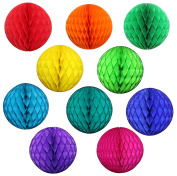 10 Pack Assorted Colour 20cm Honeycomb Tissue Paper Party Balls