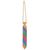 Beistle 60069 2 Piece Beaded Rainbow Ties, 33cm , Multicolor