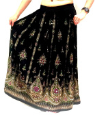 Stunning Ladies Indian Boho Hippie Gypsy Sequin Summer Sundress Maxi Skirt M L
