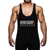 HENCHGRIPZ Black Mens Stringer Bodybuilding Gym Muscle Vest MEDIUM