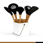 5-Piece Silicone Kitchen Utensil Set with Holder