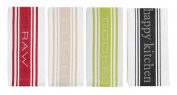 Traditional Centre Band Cotton Oversized 20 x 30 Striped Dishtowel Set of 4 Tea Towels