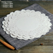 Akak Store 30 Pieces White Paper Lace Doilies Combo Cake Placemats Crafting Coaster,Pack 10 each 19cm , 22cm ,24cm ,for Wedding Party Tableware Decoration of Tableware Decoration