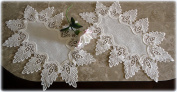 Oval Doilies Set of Two Antique White Dresser Scarf Formal European Lace Oval Doily