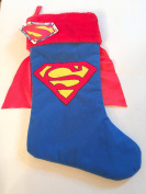 Superman Blue Christmas Stocking 50cm Embroidered With Red Plush Cuff and Red Cape