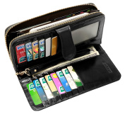 Heshe Women's Long Wallets Money Clip Card Case Holder Large Capacity Purse Clutch for Ladies with Wrist Strap