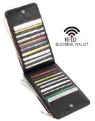 Yafeige RFID Blocking Women's Genuine Leather Multi Card Wallet with Zip Pocket