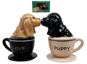 Atlantic Collectibles Cocker Spaniel Puppy Love Magnetic Ceramic Salt Pepper Shakers Figurine Collectible Set