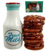 Atlantic Collectibles Breakfast Milk & Chocolate Cookies Magnetic Ceramic Salt Pepper Shakers Figurine Collectible Set