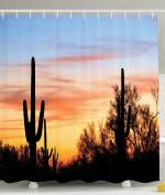Western Shower Curtain by Ambesonne, Cactus Plant Decor Organ Pipe National Monument Mexican Symbol Natural Life for Style Bathroom Decorations Modern Art Photo Decorative, Blue Orange Black