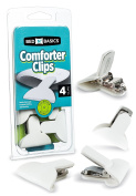 Padded Comforter & Duvet Clips - Blanket Fasteners to Secure Bedding - No More Shifting or Bunching in Covers - 4 Pack - by Bed N' Basics