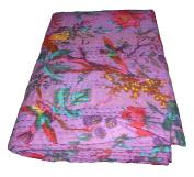 Handicrunch Bird Print Twin Size Kantha Quilt Purple , Kantha Blanket, Bed Cover, Twin Kantha bedspread, Bohemian Bedding Kantha Size 150cm x 230cm