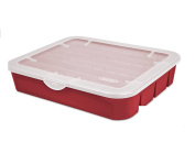 Sterilite Red Holiday Ornament Adjustable Storage Container Organiser Case- Holds 32 Orrnaments