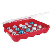 Sterilite Red Holiday Ornament Storage Container Organiser Case- Holds 20