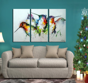 """ARTLAND Modern 100% Hand Painted framed Wall Art """"Colourful Birds"""" 3-Piece Animal Oil Painting on Canvas for Living Room Artwork for Wall Decor Home Decoration 70cm x 110cm"""